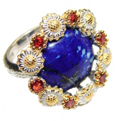 Natural afganian Lapis Lazuli 14K Gold over .925 Sterling Silver handcrafted ring size 7 1/4