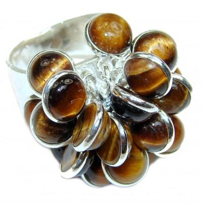 Secret Chamber Brown Tigers Eye Sterling Silver cha- cha Ring s. 7 3/4