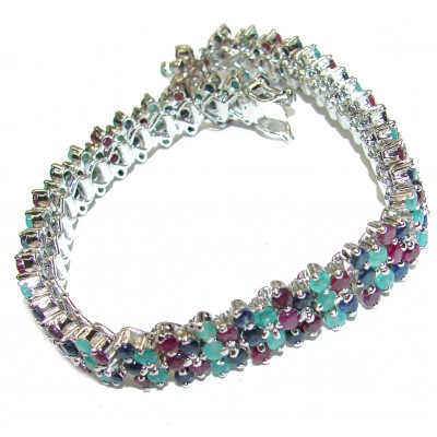 Authentic Emerald Ruby Sapphire .3925 Sterling Silver handcrafted Bracelet
