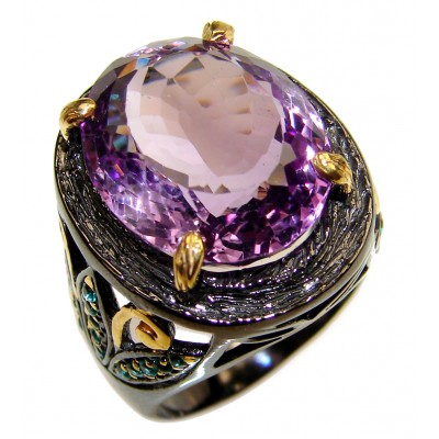Large genuine Amethyst black rhodium over .925 Sterling Silver handcrafted Ring size 9