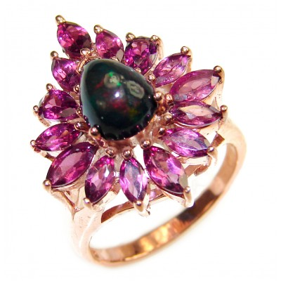 Fabulous Natural Black Opal rose gold .925 Sterling Silver handmade ring s. 8