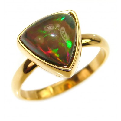 Authentic Black Opal 18K Gold over .925 Sterling Silver handmade Ring s. 9 1/4