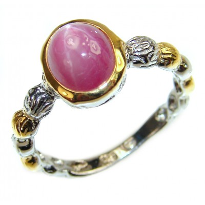 Genuine 1.5 ctw Star Ruby Gold over .925 Sterling Silver handcrafted Statement Ring size 8 1/4