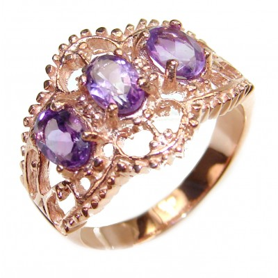 Amazing authentic Amethyst rose gold over .925 Sterling Silver brilliantly handcrafted ring s. 7 3/4