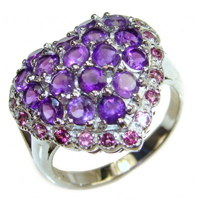 Purple Heart genuine Amethyst .925 Sterling Silver handcrafted Ring size 7 3/4