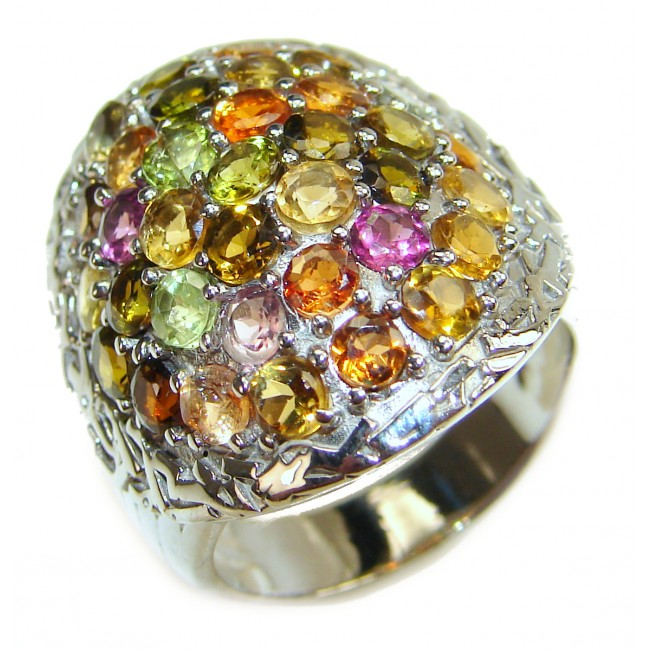 Genuine multicolor Sapphire .925 Sterling Silver handcrafted Statement Ring size 7 1/4