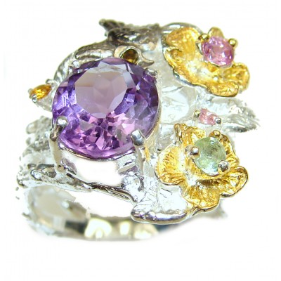 Genuine Amethyst .925 Sterling Silver handcrafted Ring size 6 3/4