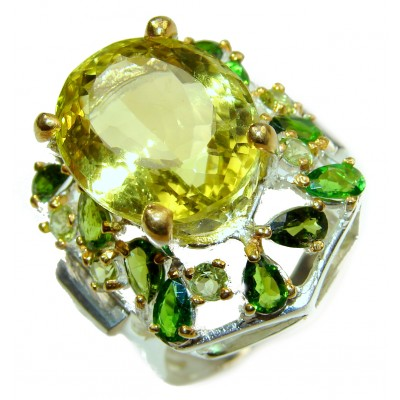 Natural Sublime quality Lemon Quartz .925 Sterling Silver handcrafted ring size 9 1/4