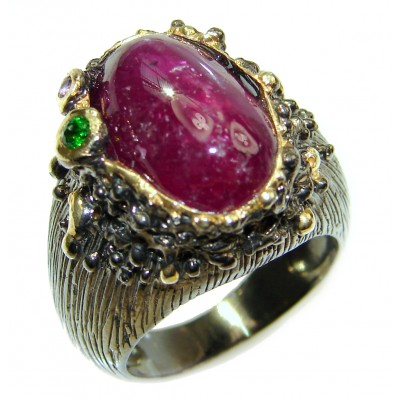 Perfect 25.8 ctw Ruby 18K Gold over .925 Sterling Silver handcrafted Statement Ring size 7
