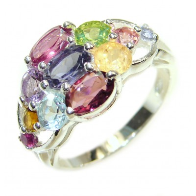 Fabulous Natural Multigem .925 Sterling Silver handmade ring s. 6 3/4