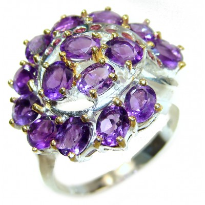 Purple Beauty genuine Amethyst .925 Sterling Silver handcrafted Ring size 9