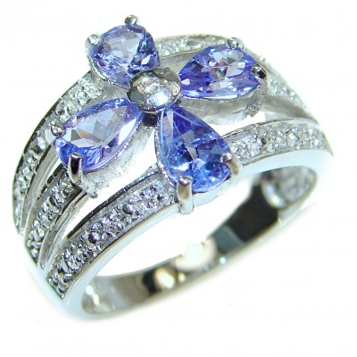Authentic Tanzanite .925 Sterling Silver handmade Ring s. 7