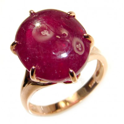 Perfect 21.8 ctw Ruby Rose Gold over .925 Sterling Silver handcrafted Statement Ring size 5 1/2