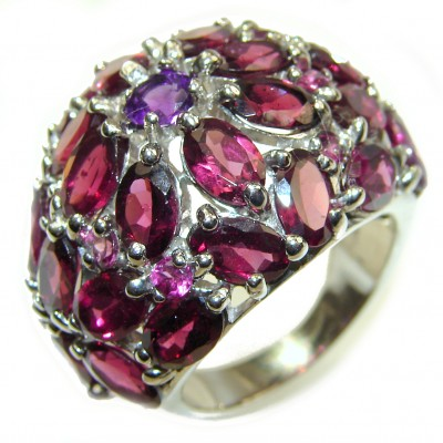 Posh Authentic Garnet .925 Sterling Silver brilliantly handcrafted HUGE ring s. 8