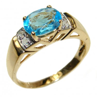 14K yellow Gold 1.48 carat authentic Swiss Blue Topaz Cocktail Ring size 6 3/4
