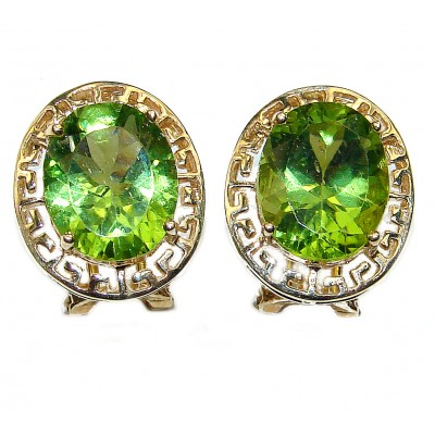 Authentic Ancient Beauty 14K yellow Gold 6.8 carat Peridot Earrings