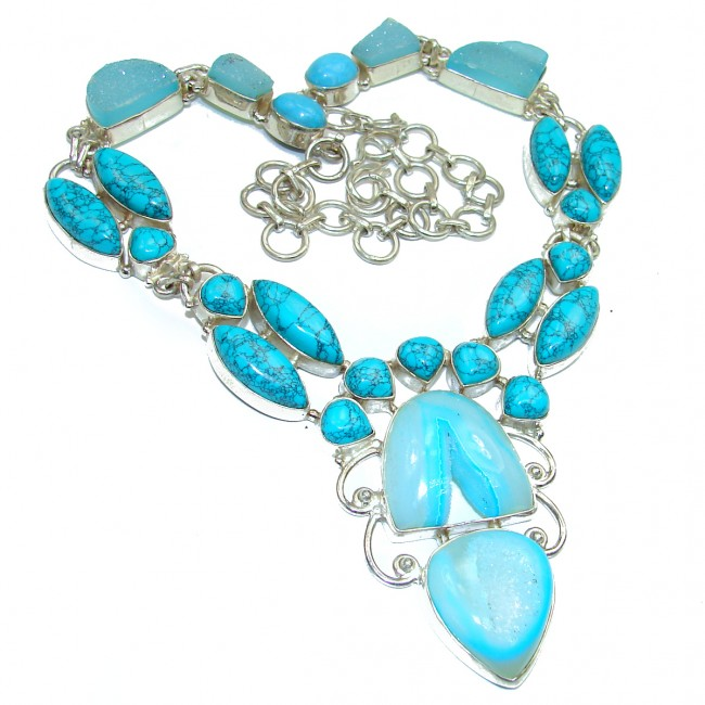 GO West Chunky Turquoise Sterling Silver handcrafted necklace