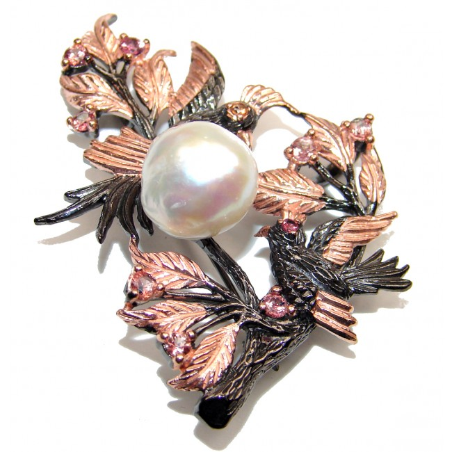 Playing Birds Natural Pearl Sapphire 925 Sterling Silver Pendant Brooch