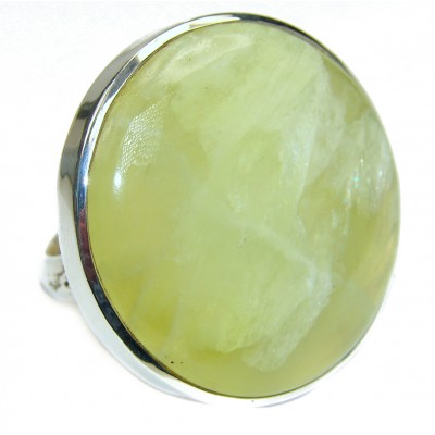 Treasure Large Natural Prehnite .925 Sterling Silver handmade ring s. 8 1/4