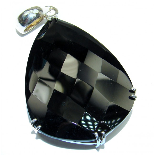 Natural huge best quality Black Onyx .925 Sterling Silver handmade Pendant