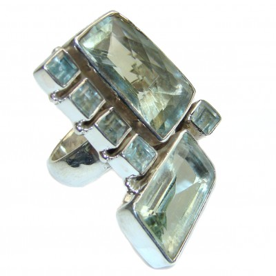 Spectacular HUGE Natural Green Topaz .925 Sterling Silver handcrafted ring size 8