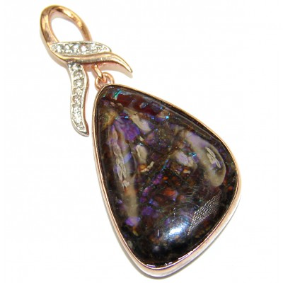 Stunning Design genuine Canadian Ammolite 18K Gold over .925 Sterling Silver handcrafted Pendant