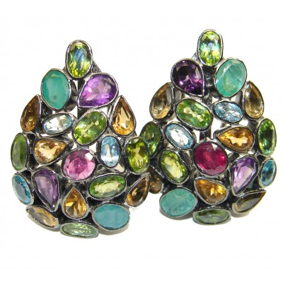 Fiesta Authentic Multigem .925 Sterling Silver brilliantly handcrafted earrings
