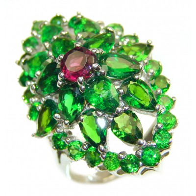 Genuine Chrome Diopside .925 Sterling Silver handcrafted Statement Ring size 8 3/4