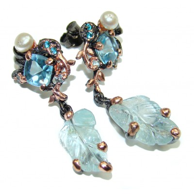 Fancy Style genuine carved Aquamarine .925 Sterling Silver handmade earrings