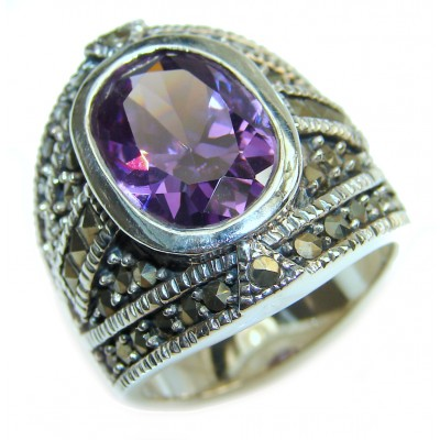 Purple Beauty genuine Amethyst .925 Sterling Silver handcrafted Ring size 7