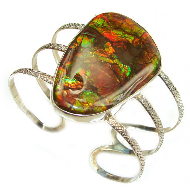 Orange Fire Genuine Canadian Ammolite .925 Sterling Silver handmade bracelet