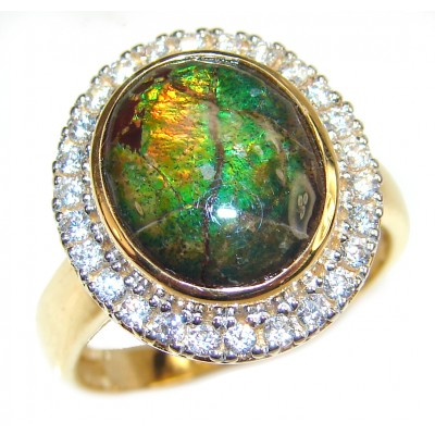 Pure Energy Genuine Canadian Ammolite 18K Rose Gold over .925 Sterling Silver handmade ring size 8