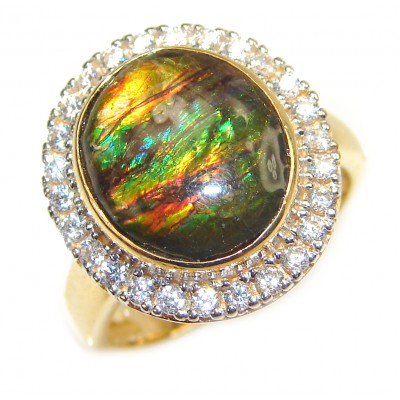 Pure Energy Genuine Canadian Ammolite 18K Rose Gold over .925 Sterling Silver handmade ring size 7