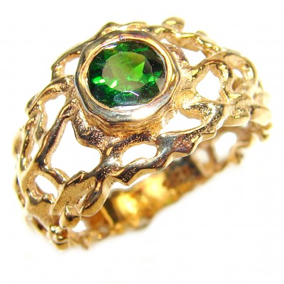 Natural Chrome Diopside 24K Rose Gold over .925 Sterling Silver Statement ring size 8 3/4