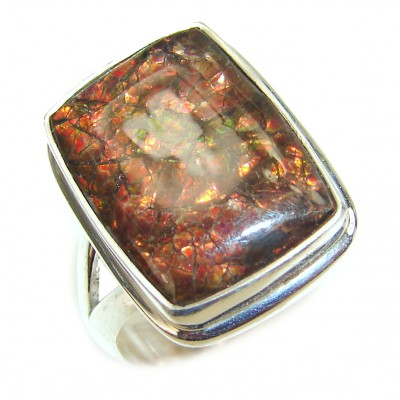 Pure Energy Genuine Canadian Ammolite .925 Sterling Silver handmade ring size 8 adjustable