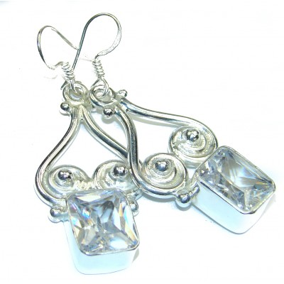 Perfect genuine White Topaz .925 Sterling Silver handmade earrings
