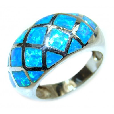 INLAY Doublet Opal .925 Sterling Silver handcrafted ring size 7 1/2