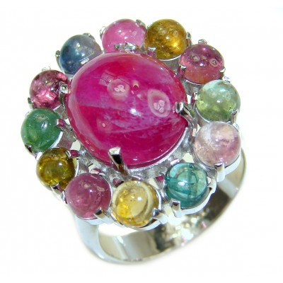 Genuine Ruby Star multicolor Tourmaline .925 Sterling Silver handmade LARGE Cocktail Ring s. 8 1/4