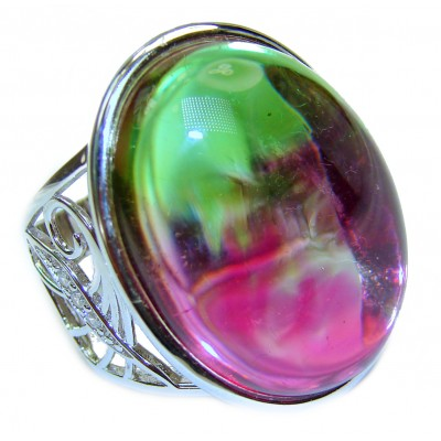 Spectacular Natural Tourmaline .925 Sterling Silver handcrafted ring size 8 adjustable