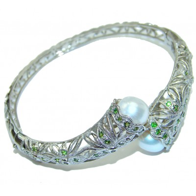 Balinese Fresh water Pearl .925 Sterling Silver handcrafted Statement Bracelet