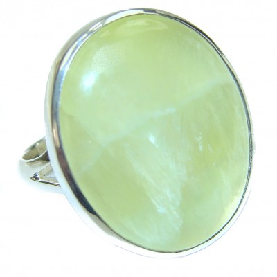 Treasure Large Natural Prehnite .925 Sterling Silver handmade ring s. 9 3/4