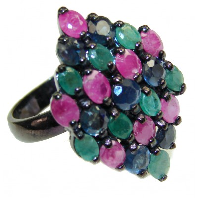 Valentina Genuine Ruby black rhodium over .925 Sterling Silver handcrafted Statement Ring size 7 3/4