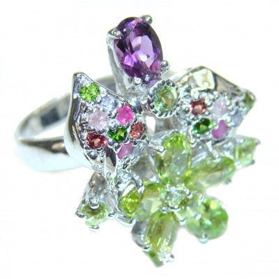 Melissa genuine Peridot .925 Sterling Silver handcrafted Ring size 7
