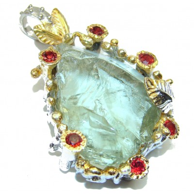 Natural Rough Green Amethyst 14K Gold Rhodium over .925 Sterling Silver Pendant