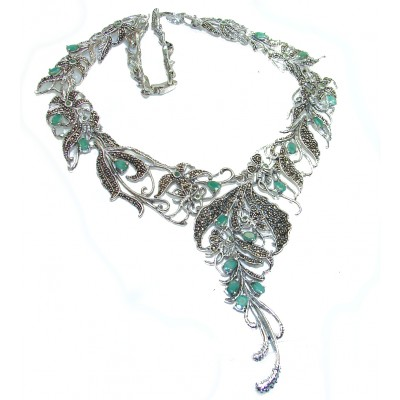Magnificent Jewel authentic Emerald Marcasite .925 Sterling Silver handcrafted necklace