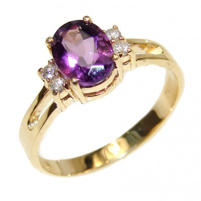 14K yellow Gold Amethyst Cocktail Ring size 7