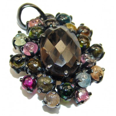 Smoky Topaz Watermelon Tourmaline black rhodium over .925 Sterling Silver handmade pendant
