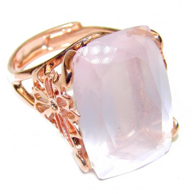 Baquette cut 65ctw Rose Quartz Rose Gold over .925 Sterling Silver brilliantly handcrafted ring s. 9 adjustable