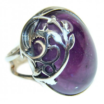 Authentic 45ctw Amethyst .925 Sterling Silver brilliantly handcrafted ring s. 8 adjustble