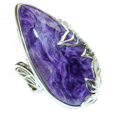 Incrediblr Siberian Charoite .925 Sterling Silver handmade ring s. 8 adjustable